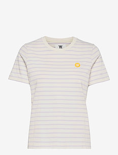 Mia T-shirt - t-shirts - off-white/lilac stripes