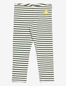 Ira kids leggings - leggings - off-white/faded green stripes