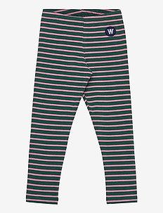 Ira kids leggings - leggings - faded green/rose stripes