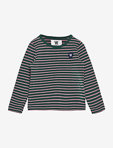 Kim kids long sleeve - langærmede - faded green/rose stripes