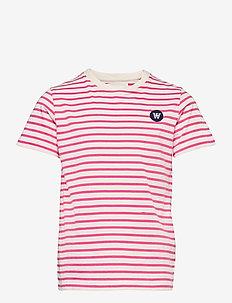 Ola kids T-shirt - kortærmede - off-white/pink stripes
