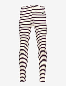 Ira kids leggings - leginsy - off-white/aubergine stripes