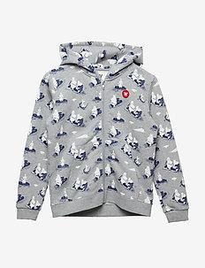 Joe zip hoodie - GREY MELANGE AOP