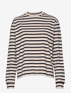 Astrid long sleeve - stribede t-shirts - off-white stripes