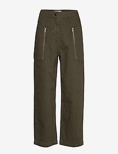Billie trousers - bukser med brede ben - dark green