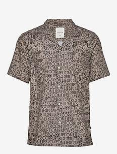 Brandon shirt - krótki rękaw - taupe aop