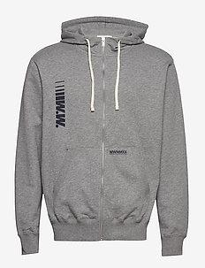 Danny zip hoodie - podstawowe bluzy - grey melange