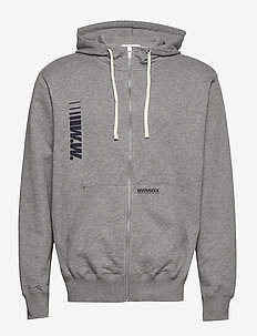 Danny zip hoodie - perus-college-paitoja - grey melange