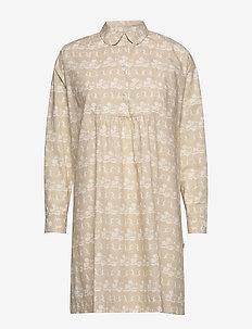 Janica dress - skjortekjoler - beige aop