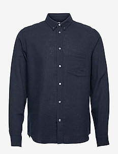 Andrew cotton linen shirt - chemises basiques - navy