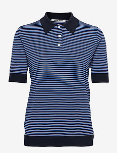 Eloise fine stripe polo - polohemden - azure blue