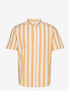 Michael wide stripe SS shirt - koszule lniane - white/yellow stripes