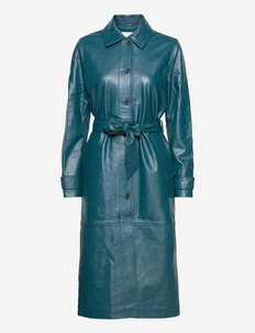 Angie leather coat - trench coats - dark teal