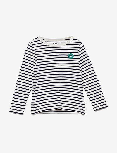 Kim kids long sleeve - långärmade - off-white/navy stripes