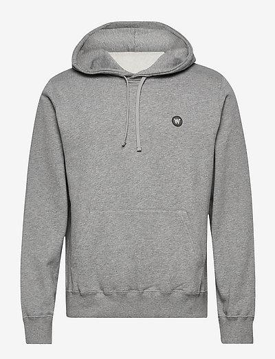 Ian hoodie - hoodies - grey melange/green