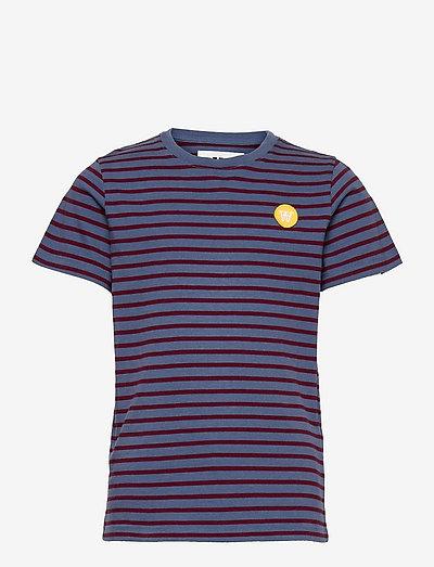 Ola kids T-shirt - À manches courtes - blue/dark red stripes