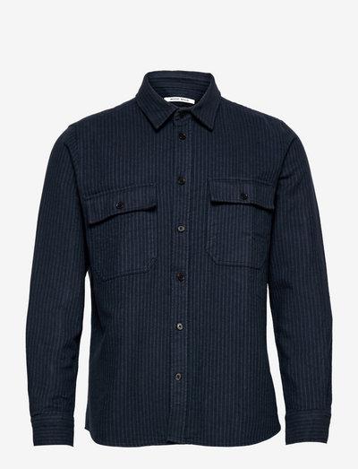 Avenir stripe flannel shirt - oxford shirts - navy