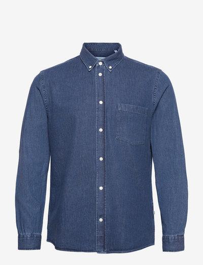 Andrew classic denim shirt - linneskjortor - stone wash