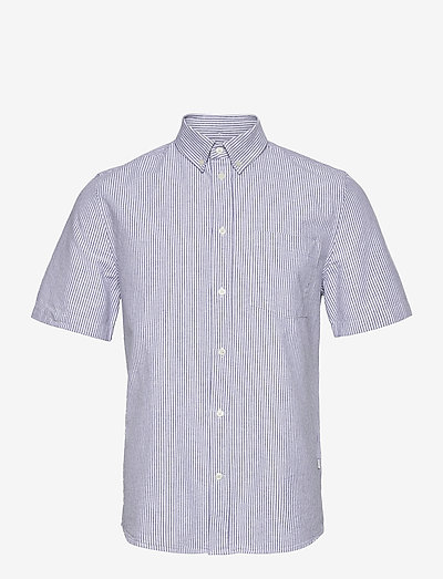 Michael oxford shirt SS - linneskjortor - blue stripes