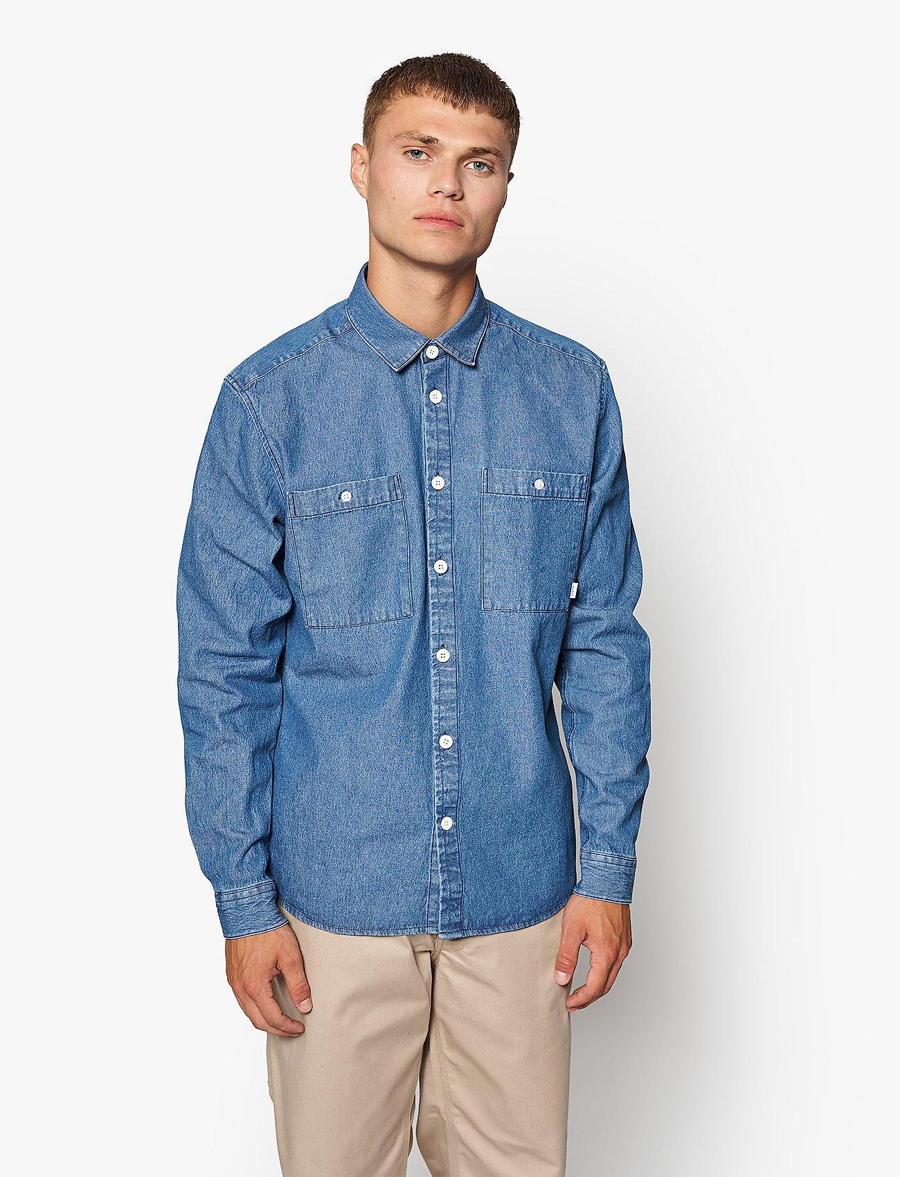 Woodbird - Pikan Denim Shirt - chemises à carreaux - blue - 0