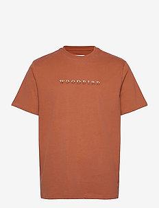 Our Boxy Broid Tee - kortærmede skjorter - clay brown