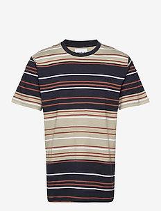 Ranbo Stripe Tee - chemises à manches courtes - ecru-clay brown
