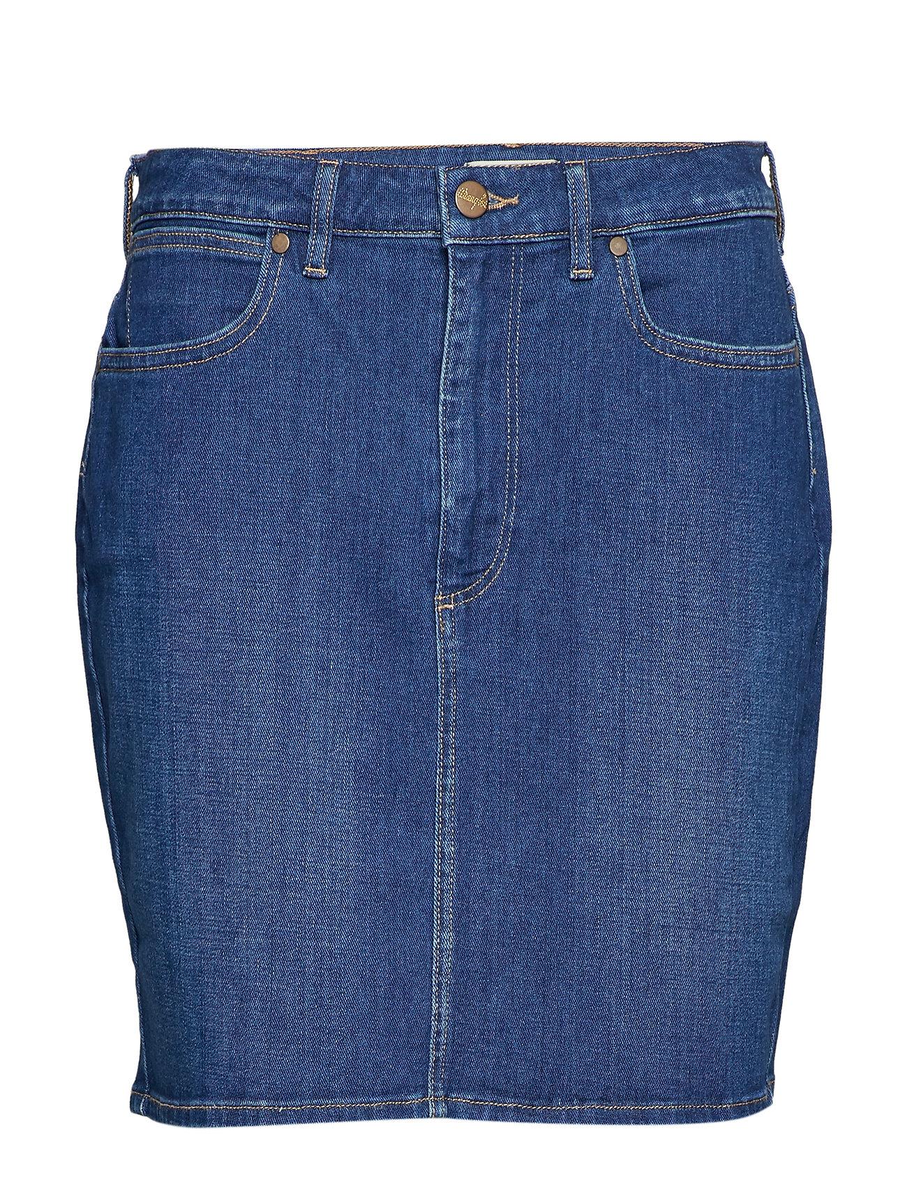 Image of Mid Length Skirt Knælang Nederdel Blå Wrangler (3424109559)