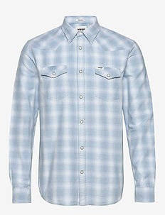 LS WESTERN SHIRT - geruite overhemden - light indigo