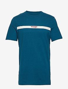 SS STRIPE LOGO TEE - kortärmade t-shirts - ink blue