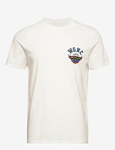 SS GLOBE TEE OFF WHITE - basic t-shirts - off white