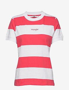 STRIPED HIGH RIB - t-shirty - paradise pink