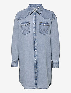 DENIM WESTERN DRESS - robes chemises - light indigo