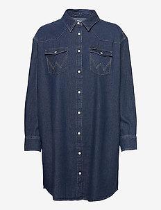 DENIM WESTERN DRESS - hemdkleider - mid indigo