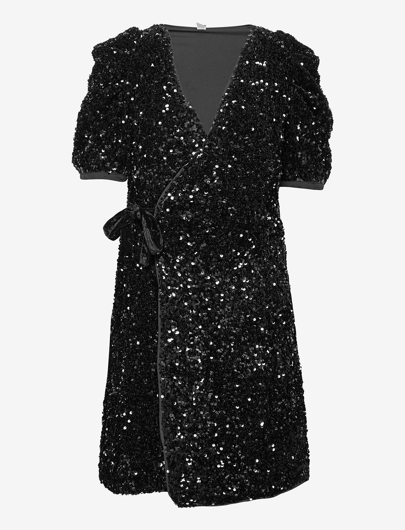 YAS - YASSEQUELLA 2/4 WRAP DRESS - SHOW - paljettkjoler - black - 0