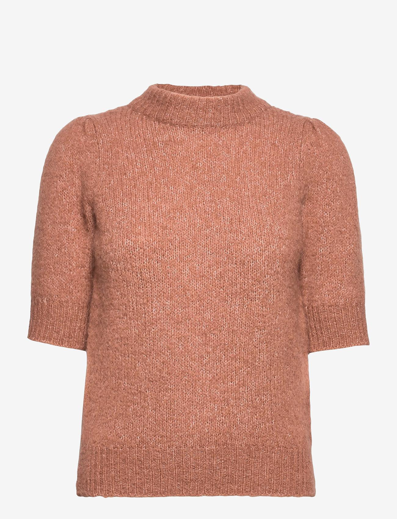 YAS - YASSIERA 2/4 KNIT TOP PE - gebreide t-shirts - mocha mousse - 0