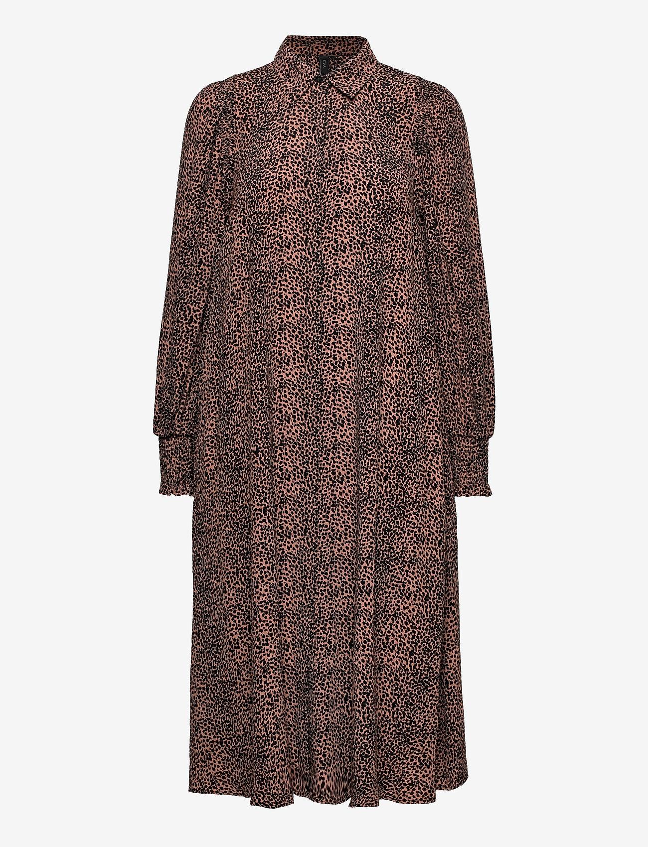 YAS - YASLAIVO LS MIDI SHIRT DRESS S. - alledaagse jurken - mocha mousse - 0