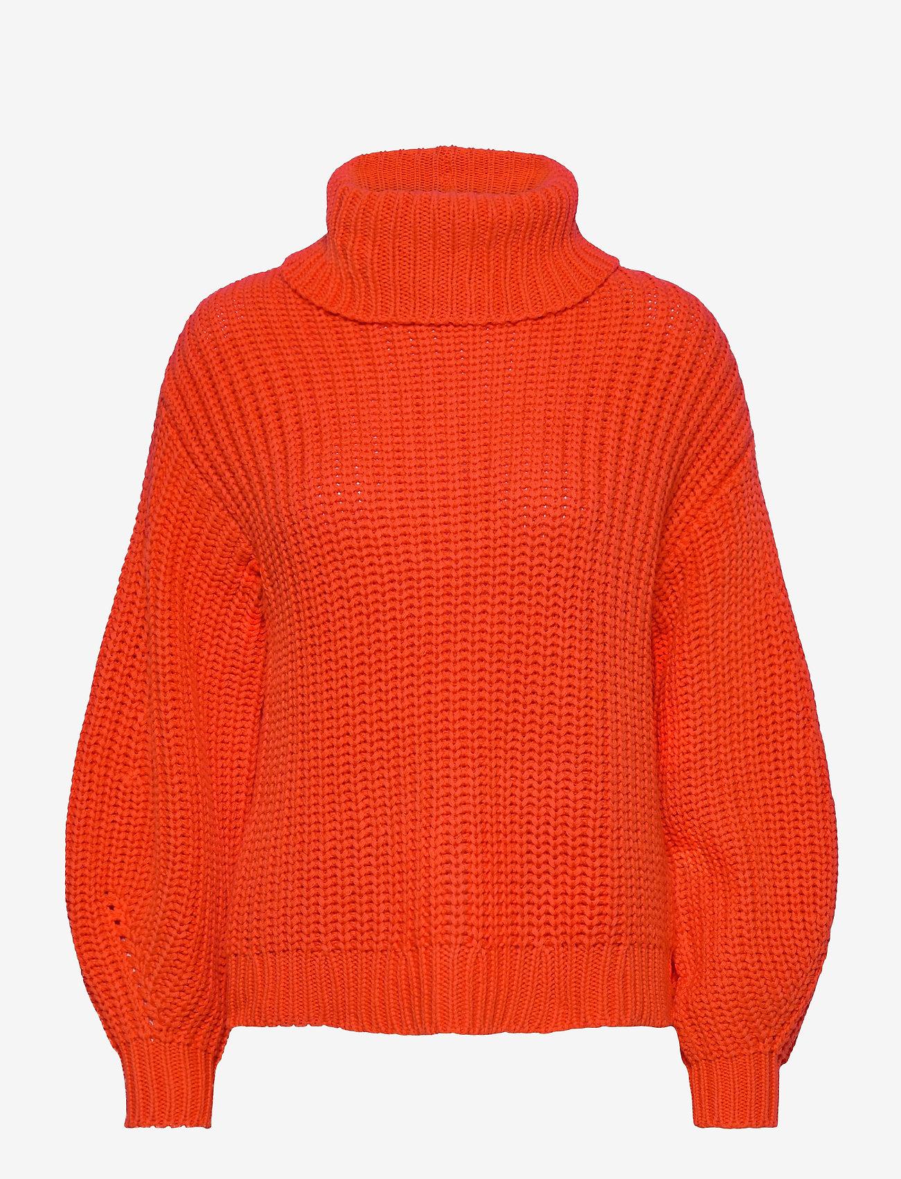 YAS - YASORANGINA LS KNIT ROLL NECK PULLOVER - turtlenecks - orange.com - 0