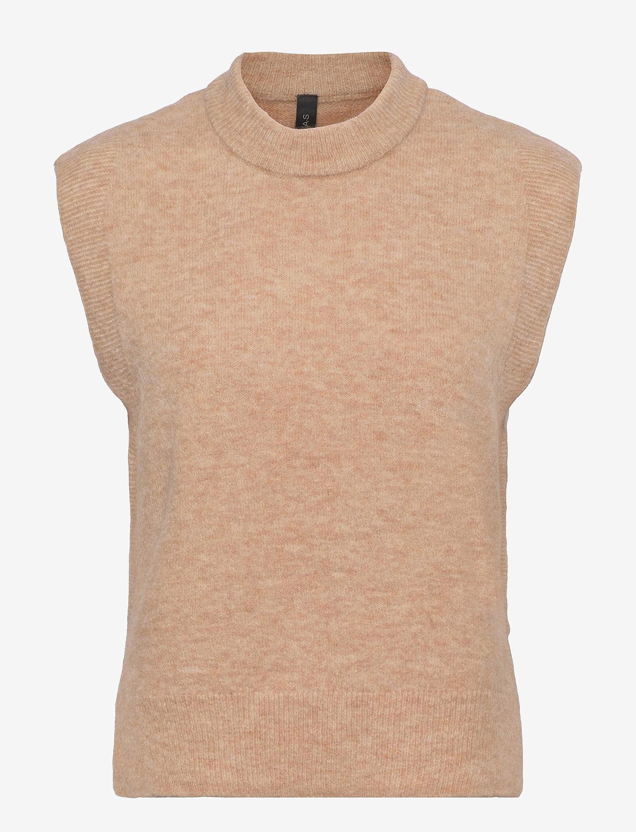 YAS - YASALVA KNIT VEST S. - knitted vests - cuban sand - 0