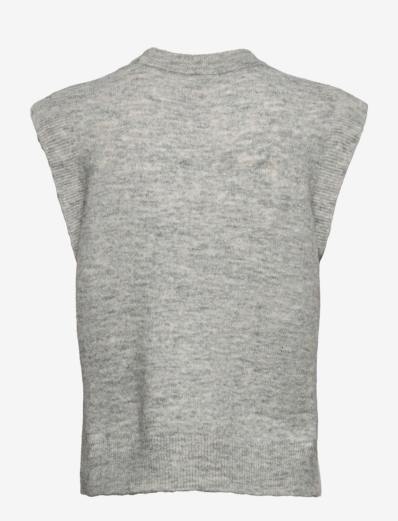 YAS - YASALVA KNIT VEST S. - knitted vests - light grey melange - 1