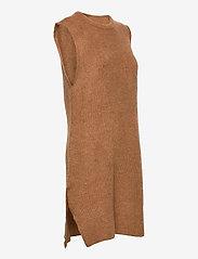 YAS - YASZAL LONG WAISTCOAT D2D - knitted vests - camel - 3