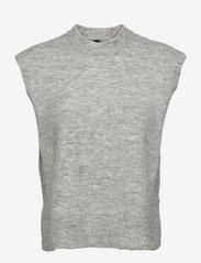 YAS - YASALVA KNIT VEST S. - knitted vests - light grey melange - 0