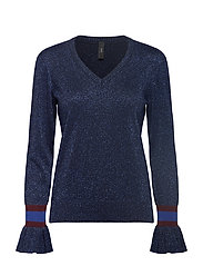 YASMETALLICO LS V-NECK TOP - NIGHT SKY