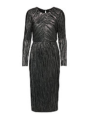 YASMOMILLA FOIL LS DRESS - BLACK