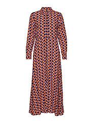 YASAUNTY LS LONG SHIRT DRESS - NAVY BLAZER