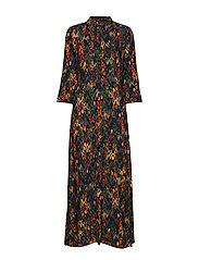 YASMANON 7/8 LONG DRESS W.O. BELT FT - BLACK