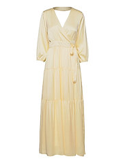 YASLUMEN WRAP 3/4 MAXI DRESS - SHOW - TRANSPARENT YELLOW