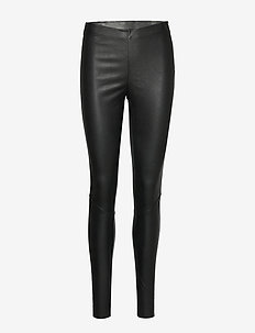YASZEBA STRETCH LEATHER LEGGING NOOS - læderbukser - black