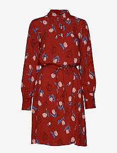 YASELANOR LS SHIRT DRESS - ROOIBOS TEA