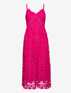 YASLUIE STRAP MIDI DRESS - SHOW - sukienki koronkowe - beetroot purple