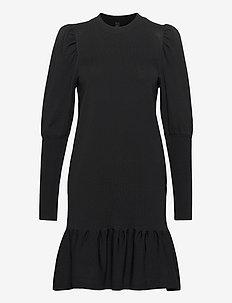 YASINES KNIT DRESS - krótkie sukienki - black